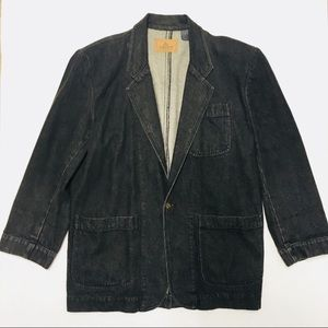3/$50 VTG LC 90s black jean jacket blazer M L